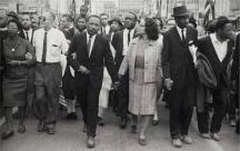 Dr. King and his wife leading march in Montgomery 1965: Morton Broffman, The Bronx Museum of the Arts